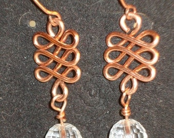 Copper Wire Celtic Knots with Clear Crystal Dangle