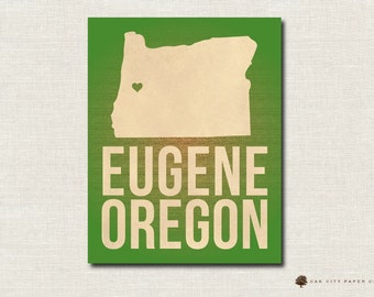 Eugene Oregon Map Print Love Home Heart Print Multiple Colors 8x10 & 11x14 - INSTANT DOWNLOAD DIY