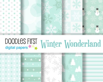 Winter Wonderland  Digital Paper Pack Includes 10 for Scrapbooking Paper Crafts