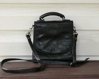 Vintage Leather Shoulder Bag ,,The Monte,, Black Bag, Crossbody Bag, Lot of Pockets, Great Condition @78