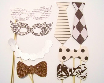 Sale! Vintage Photo Booth Props 8pc Brown & Cream with Glitter Wedding Photo Booth Props Accessories Set Mustache on a Stick Photo Props