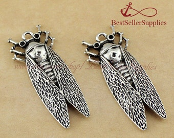 8 PCs, Cicada Charm, Cicadidae Pendant, Insect, Pest, Bug, Silver, Fittings, Accessories, Craft Supplies, Jewelry Making Findings, 37*16MM