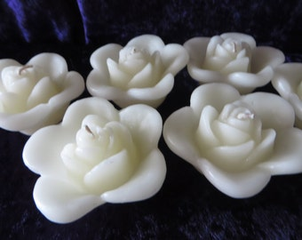 "Ivory Rose Floating Candle - Unscented - 2 3/4"" in diameter"