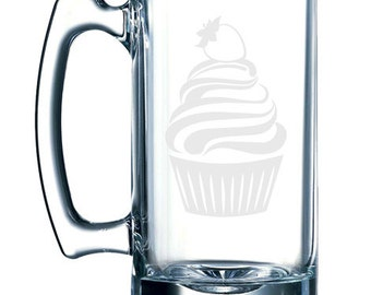 Cute Cupcake #3 - Strawberry Whipped Ice Cream Topping-  26 oz glass mug stein
