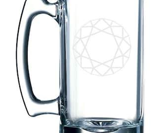 Diamond Design #2 - Jewellery Decoration Mineral Fractal-  26 oz glass mug stein