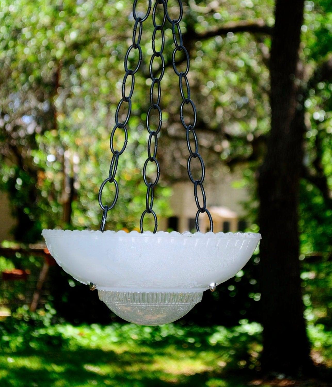 White Glass Bird Feeder Hanging Bird Bath Succulent Planter
