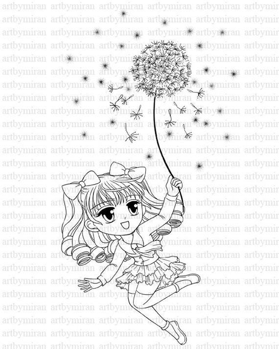 Digital Stamp-Dandelion, Spring Coloring page, Instant Download Digi Stamp, Printable Line art for Card and Craft Supply, Art by Mi Ran Jung