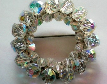 Aurora Borealis Crystal Circle Brooch - 3340
