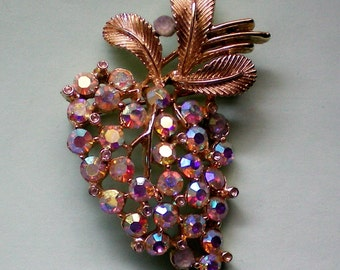 Sparkling AB Stone Grape Cluster Pin - 2387