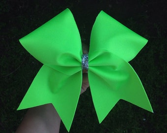 neon lime green cheer bow