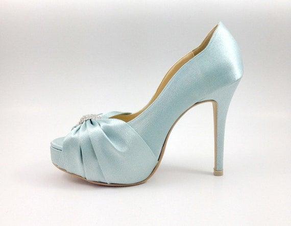Something Blue Wedding Shoes With Rhinestones Powder Diamante Light Robin Egg