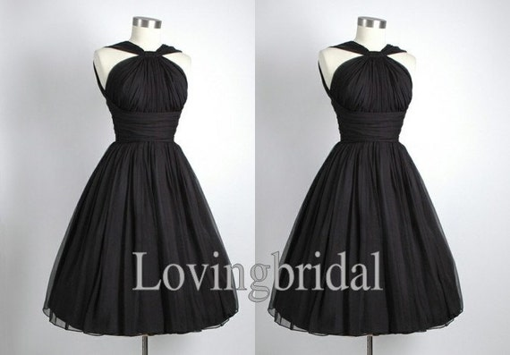Short Black Chiffon Evening Dress Bridesmaid Dress Prom Dress  Wedding Party Dresses Bridesmaid Gown Bridesmaid Dress 2013