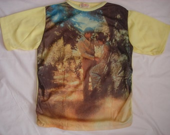 AMAZING Vintage 70's Psychedelic Art Photo Print Polyester T shirt, size Medium by Atlas