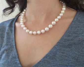 10 MM Fresh Water Pearl Necklace with Silver Clasp/Bride Necklace/Mother of the Bride/Wedding Jewelry/Bridal Jewelry Necklace