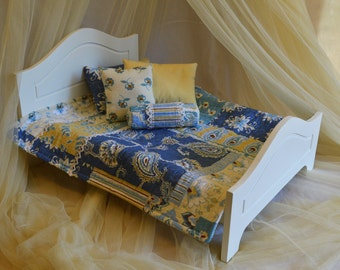 Quilt blue&yellow paisley bedding set- for dolls