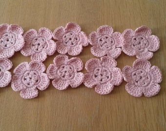 Set of 10 Pink Crocheted Flowers