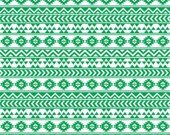 Green and white tribal pattern craft  vinyl sheet - HTV or Adhesive Vinyl -  Aztec Peruvian pattern HTV911