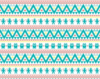 Teal coral yellow and white owl tribal pattern craft  vinyl sheet - HTV or Adhesive Vinyl -  Aztec Peruvian pattern HTV300