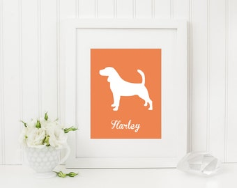 Beagle Silhouette, Beagle Print, Dog Silhouette Art, Dog Silhouette Print, Custom Dog Silhouette, Custom Dog Art, Name, Dog Poster, Beagle