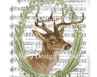 Printable Vintage French Deer Collage, French Digital Download,French Transfer,French Digital Gift Tags,Printable Deer,Large Images,ACEO ATC