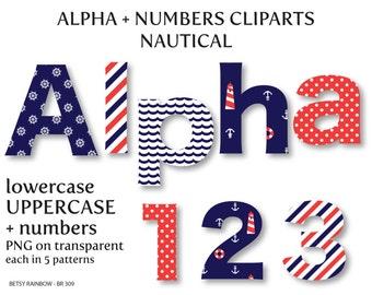 Nautical alphabet clip art, digital letters and numbers, letter clipart, nautical clipart,  Scrapbook supplies  - BR 309