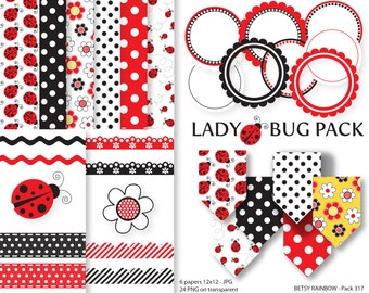 Ladybug Digital Paper Pack, Clipart Paper Pack, scrapbook paper, Lady bug, scrapbook clip art  - BR 317