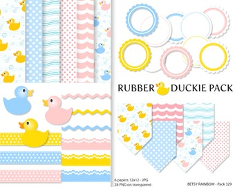 Rubber duckies Digital Paper Pack, Clipart Paper Pack, Baby digital paper, rubber duckies, scrapbook clip art  - BR 329