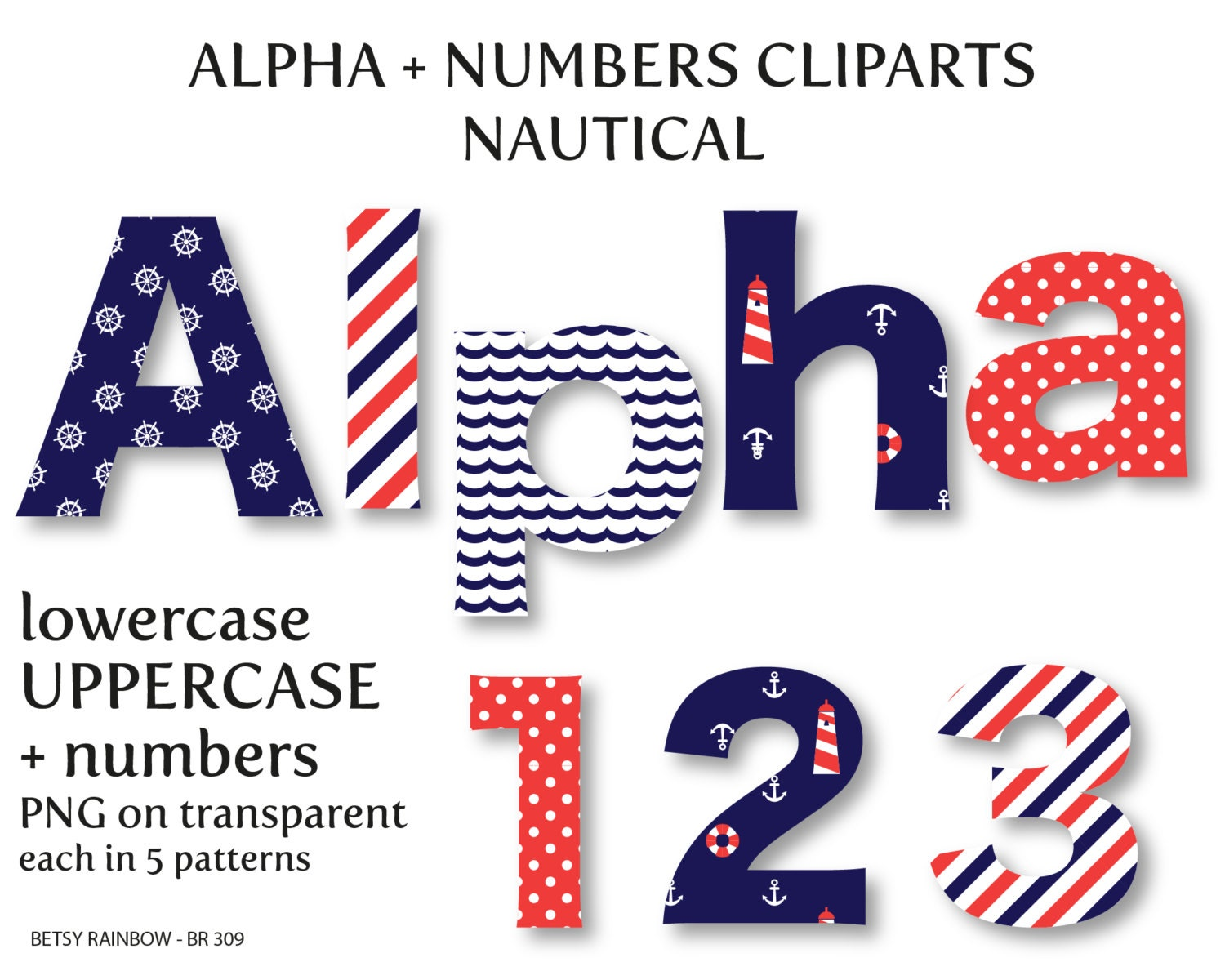 nautical alphabet clip art digital letters and numbers With nautical letter art