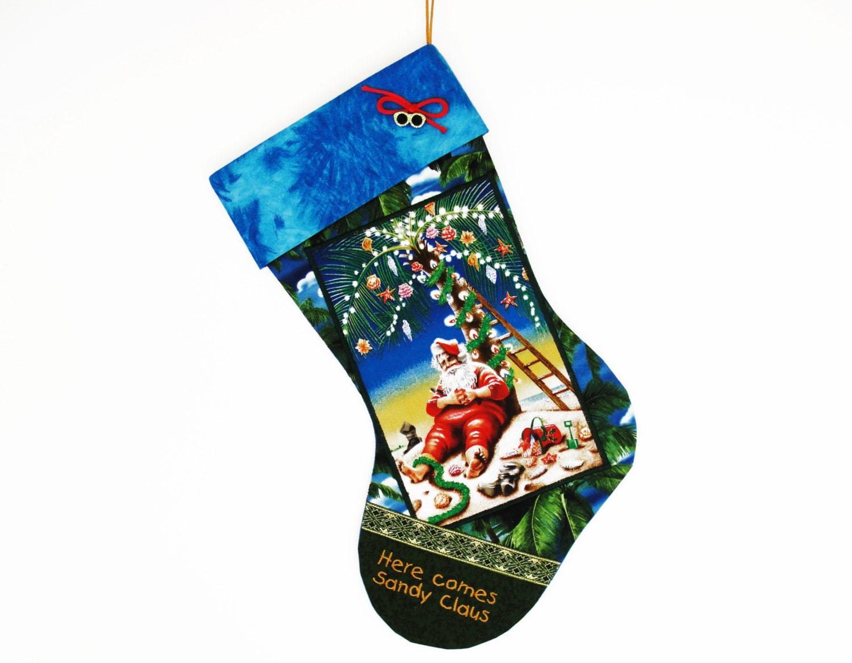 Tropical beach christmas stocking a custom handmade for Custom made christmas stockings
