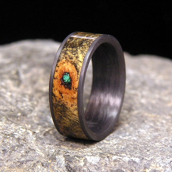 Buck Eye Burl Malachite Inlay Carbon Fiber Wedding Band Or