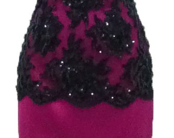 Vintage 1980's Patrick Kelly Paris Pink Strapless Sheath Dress with Black Lace and Sequin Floral Overlay