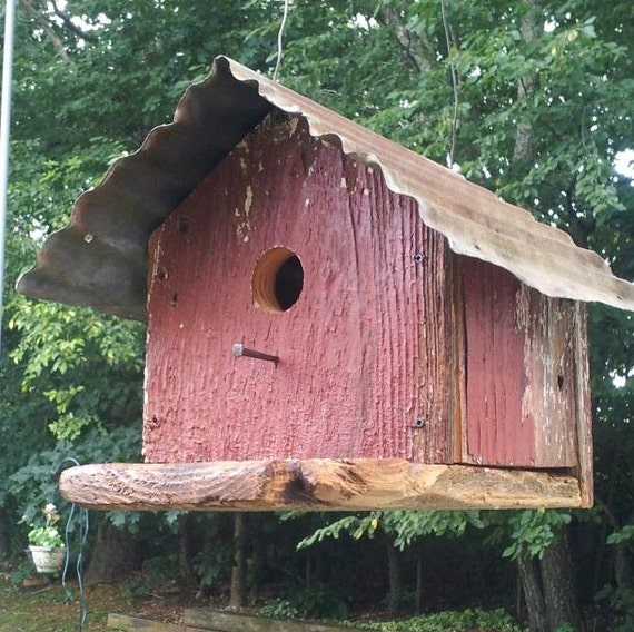 Hand made barn wood bird house weathered pine old red - Old barn wood bird houses ...