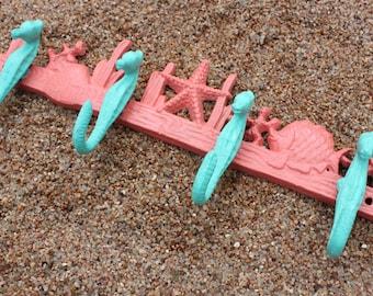 Nautical Hooks Towel Hooks Beach Decor Nursery Bathroom Hooks Cast Iron Wall Hooks Jewelry Hooks Seahorse Starfish Key Hooks Nautical Hooks