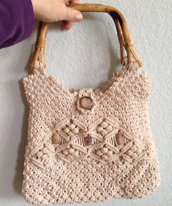 Crochet Bag Handles : Boho Crochet Handbag with Bamboo Handles - Vintage 70s Macrame Bag ...
