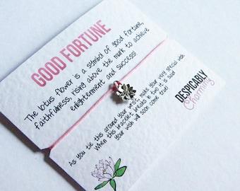 Lotus Flower Wish Bracelet Friendship Bracelet,  Silver lotus Charm - Wedding, Graduation, Party Favours