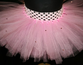 Pink Tutu Skirts With Swarovski Crystals, Children's Tutu Skirts, Pink Newborn to 6T Tutus, Pink Tutu with Swarovski Crystals