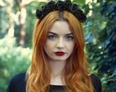 Black Rose Crown, Rose Crown, Festival Crown, Festival Garland, Black Flower Crown, Rose Headband, Boho Headband