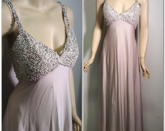 Mad Men 60's gown of sequined and beaded bodice jersey flowing skirt Hong Kong sz L