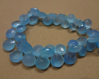 28 pcs 8 to 10 mm Blue Calcedony Hearts  AAA Quality-Amazing price-