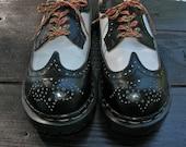 Sale~Gripfast Wingtip Black and White Steel Toe Spectators  - size 5 UK = size 5.5 US Mens = size 6.5 US Women