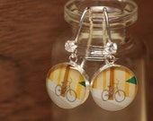 Starbucks Bicycle earrings with sterling silver, resin and cubic zirconia. Made from recycled, upcycled  gift cards.