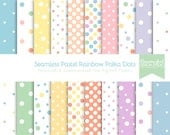 Seamless Pastel Rainbow Polka Dot Pattern Digital Paper Set - Personal & Commercial Use