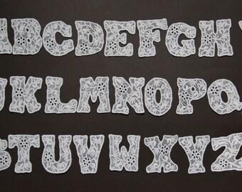 1 Set Off White Lace Appliques 26 PCS English Letters A-Z