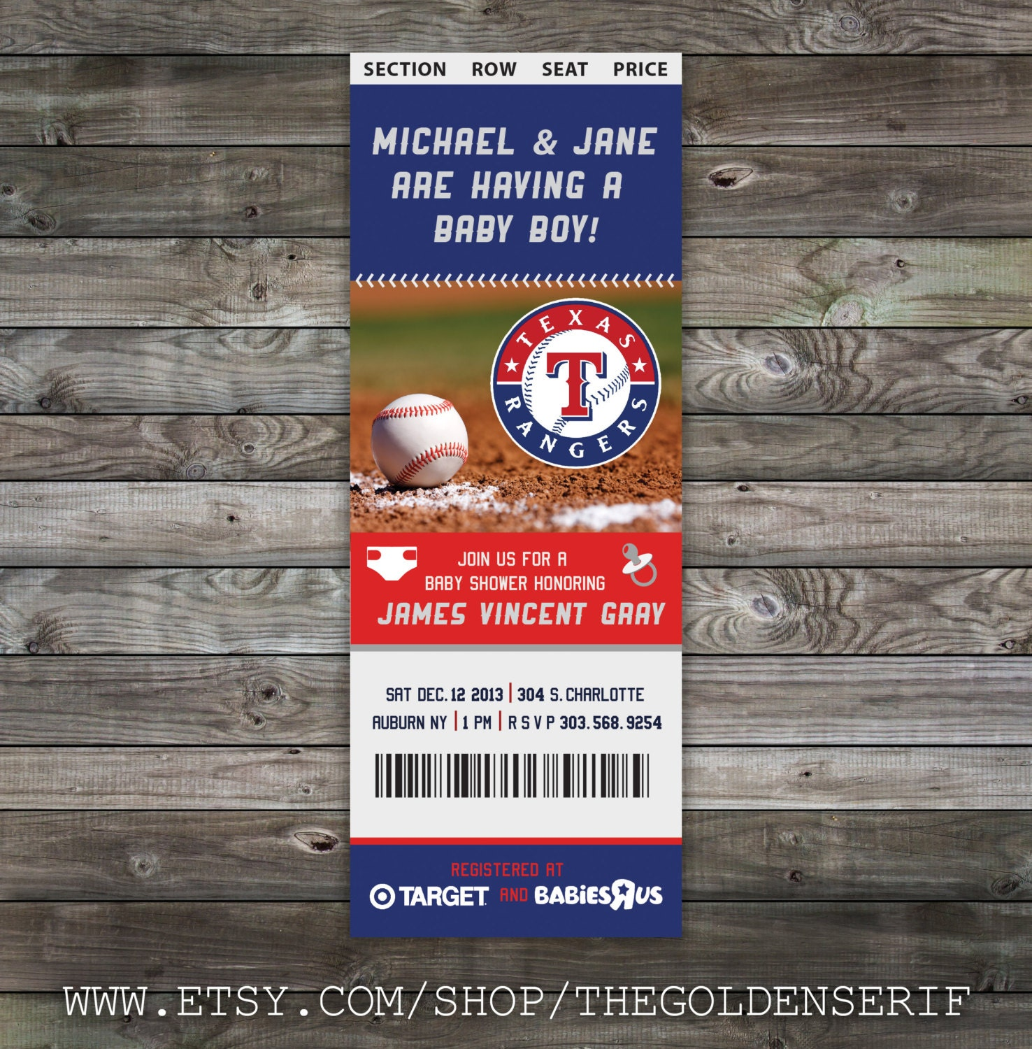 Printable Baseball ticket Baby Shower Invitation