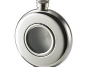 Personalized flask with engraving on the back - Round flask - Groomsmen gift - Engraved flask