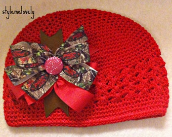 Ford Girl Camo Baby Girl Boutique Bow Crocheted Hat