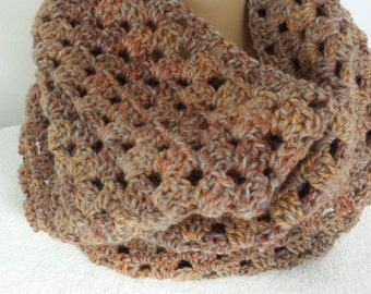 Cowl Infinity Scarf Crocheted Brown