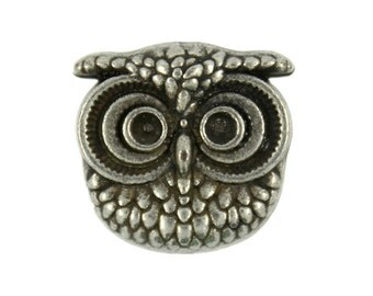 Owl Metal Buttons - Owl Antique Silver Metal Shank Buttons - 16mm - 5/8 inch - 6 pcs
