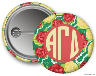 AGD Alpha Gamma Delta Floral Sorority Greek Button