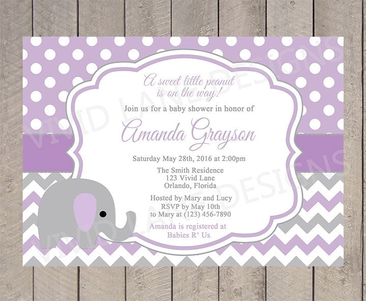 purple elephant baby shower invitation girl baby shower